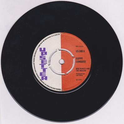 """Dave Barker & The Upsetters (credited as Bob Marley and The Wailers)  / Upsetters  - Doppy Conquer but plays """"Upsetting Station""""  / Justice - Upsetter US 348"""