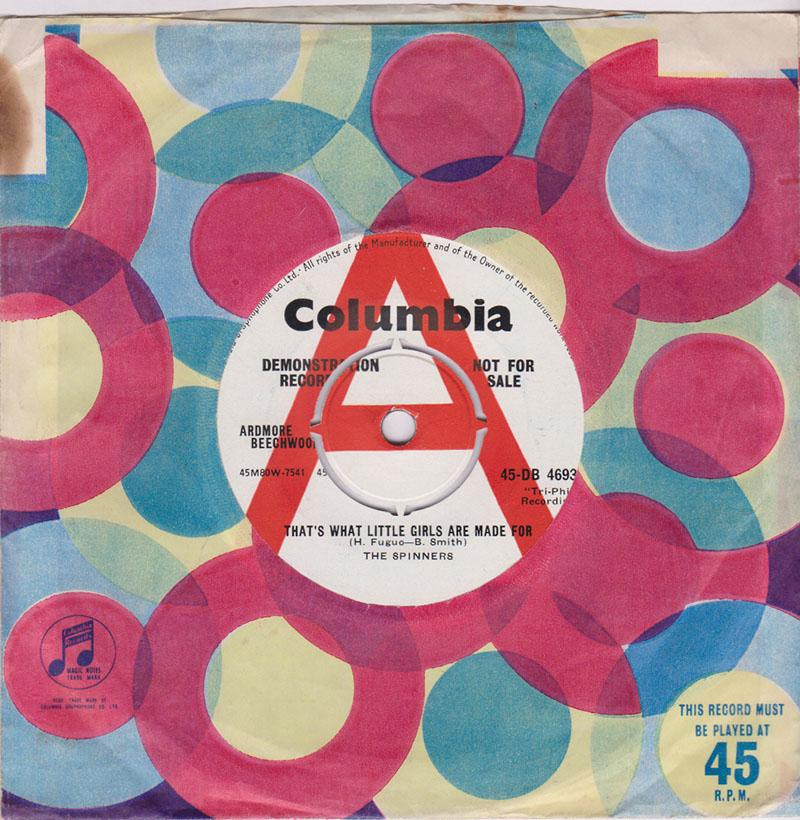 Spinners - That's What Little Girls Are Made Of / Heebie Jeebies - Columbia 45-DB-4693 DJ