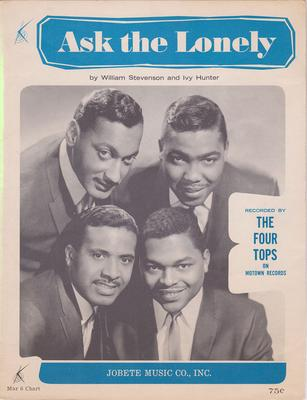Four Tops - Ask The Lonely / 1965 USA music sheet - Jobette Music mar 6 chart