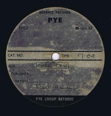 "Jack Hammer - Brave New world inc: Down In The Subway / Pye 12"" LP acetate - Pye Advance Pressing Acetate"