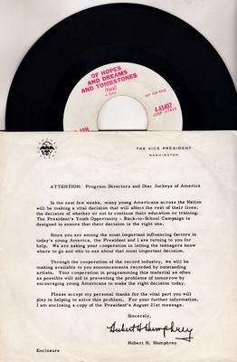 Youth Opportunity Program - Of Dreams Hopes And Tombstones / same instrumental - Columibia 4-43407 DJ with glossy info sleeve