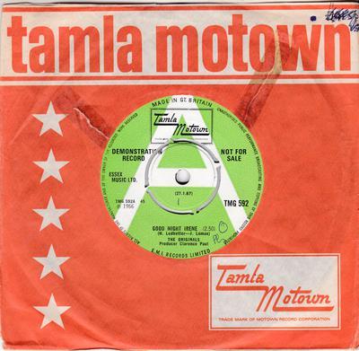 Originals - Good Night Irene / Need Your Lovin' (Want You Back) - Tamla Motown TMG 593 DJ