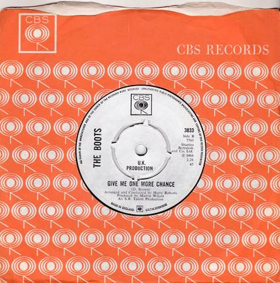 Boots - Give Me One More Chance /Help Your Lovelight Burning - CBS 3833 DJ
