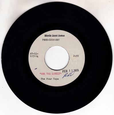 """Four Tops - Ask The Lonely / blank - Hitsville Sound Studios  7"""" PBMN 0268-NH1"""