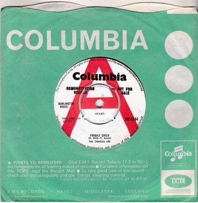 Chances Are - Fragile Child / What Went Wrong - Columbia DB 8144 DJ