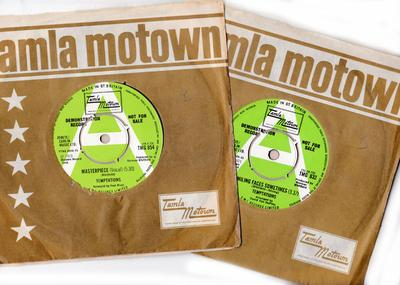Temptations - 2 x 45 70's UK Demo's with Promo Sheets attached - Masterpiece / same: instrumental + Smiling Faces Sometimes / Mother Nature -   Tamla MOtown TMG 832 DJ + TMG 854 DJ
