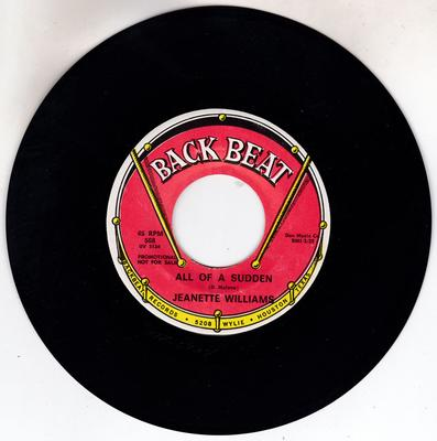Jeanette Williams - All Of A Sudden / Mr. Soft Touch - Back Beat 568 DJ