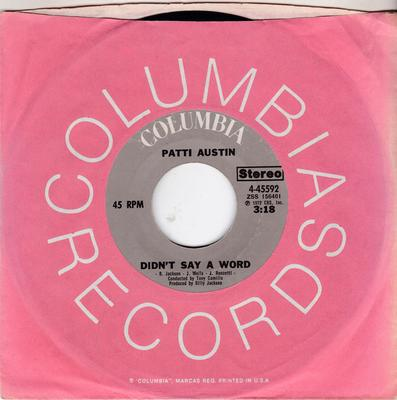 Patti Austin - You Didn't Say A Word / Day By Day - Columbia 4-45592