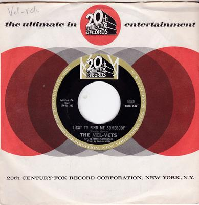 Vel-Vets - I Got To Find Me Somebody / What Now My Love - 20th Century Fox 6676 MANSHIP MINT