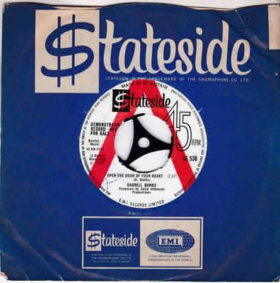 Darrell Banks - Open the Door OF Your Heart / Our Love ( Is In The Pocket ) - Stateside SS 536 DJ  MANSHIP MINT