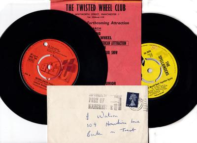 Twisted Wheel memorabilia package - 1969 Event Flyer + original envelope + two iconic 45s direct from the Twisted Wheel collection - Twisted Wheel 1969