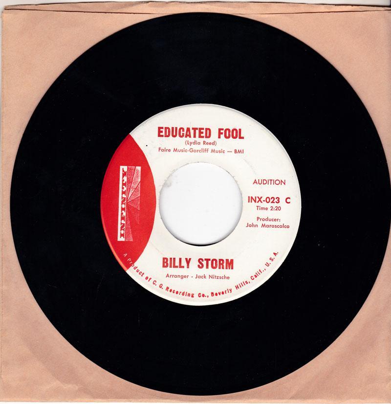 Billy Storm - Educated Fool / I Can't Help It - Infinity INX-023 DJ MANSHIP MINT