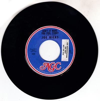 Joe Hicks - Don't It Make you feel Funky / Soul Meeting - AGC 1
