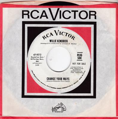 Willie Kendrick - Change Your Ways / What's That On Your Finger - RCA 47-9212 DJ