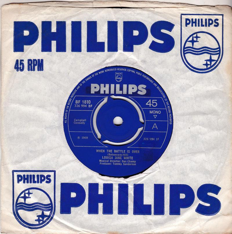 Louisa Jane White - When The Battle Is Over / Blue Ribbons - Philips BF 1810 3 prong