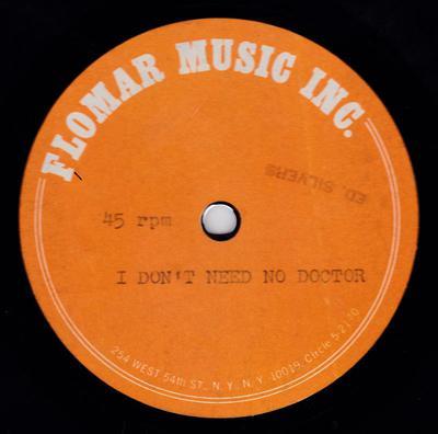 "Joshie Jo Armstead - I Don't Need No Doctor / blank - Flomar Music 10"" acetate"
