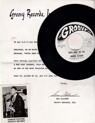 Darrow Fletcher - 1966 promo artist photo attached to Groovy Records introduction letter + the promo 45 - Groovy 3007 DJ + Photo 7 promo Letter - Groovy 3007 DJ + letter + photo