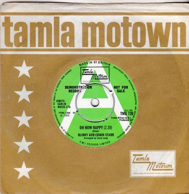 Blinky and Edwin Starr - Oh How Happy / Ooo Baby Baby - Tamla Motown 720 DJ