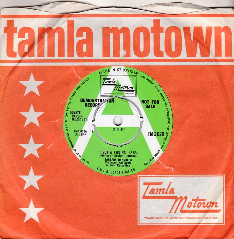 Barbara Randolph - I Got a Feeling / You Got Me Hurtin' All Over - Tamla MotownTMG 628 DJ