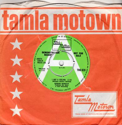 Barbara Randolph - I Got a Feeling / You Got Me Hurtin' All Over - Tamla MotownTMG 628 DJ