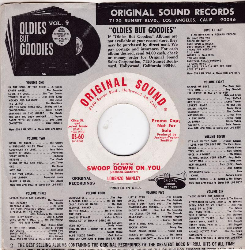 Lorenzo Manley - ( I'm Gonna ) Swoop Down On You / To Prove My Love - Original Sound OS 60 DJ