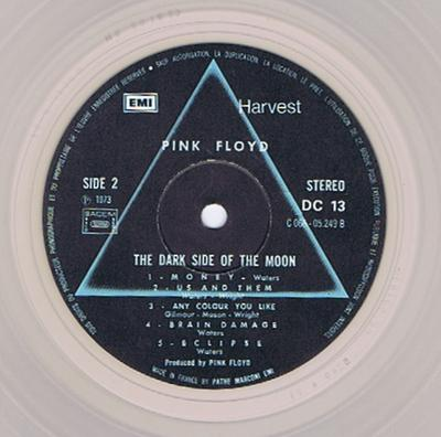 Pink Floyd - The Dark Side Of The Moon / Translucent Vinyl 1973 French press -  Harvest DC 13 France