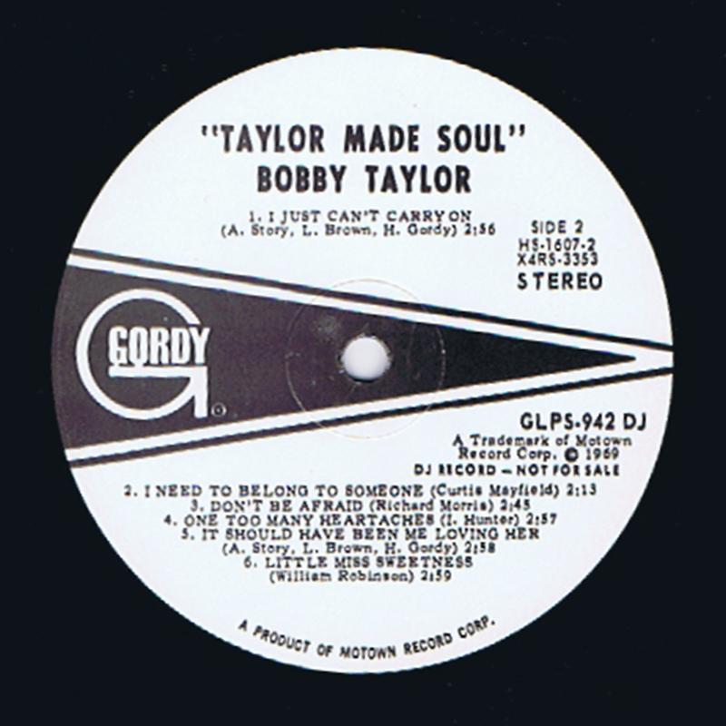 Bobby Taylor - Taylor Made Soul / inc: Don't Be Afraid - Gordy GS922 DJ
