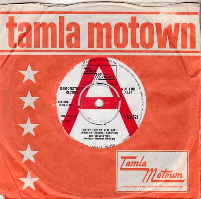 Velvelettes - Lonely Lonely Girl Am I / I'm The Exception To The Rule - Tamla Motown TMG 521 DJ