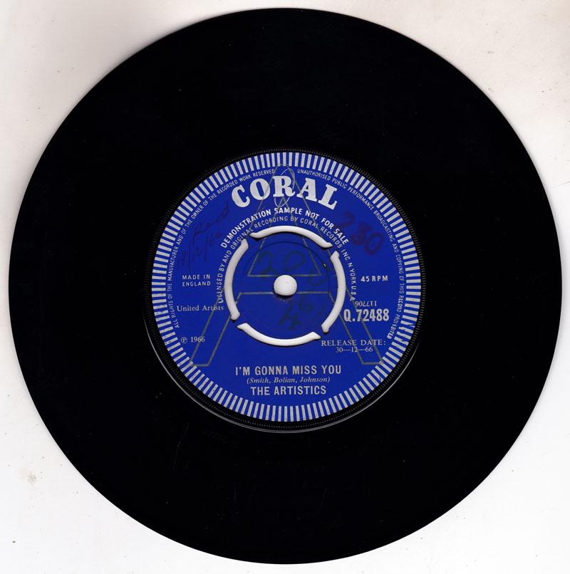 Artistics - I'm Gonna Miss You / Hope We Have - Coral Q.72488 DJ