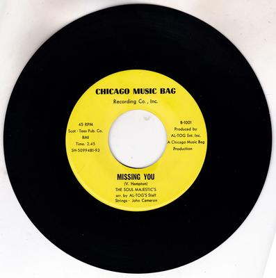 Soul Majestics - Missing You / I Done Told You Baby - Chicago Music Bag B-1001