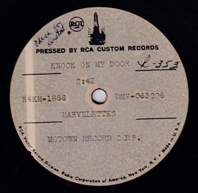 "Marvelettes - Knock On The Door / blank: - RCA custom 10"" acetate DMV-065206"