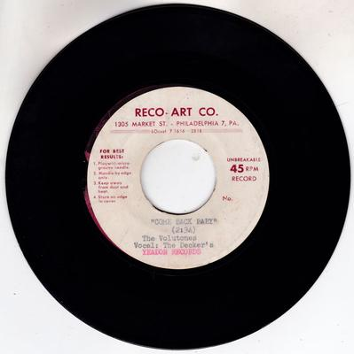 Volutones with the Deckers - Come Back Baby / Sincerely With My Heart - Reco-Art acetate