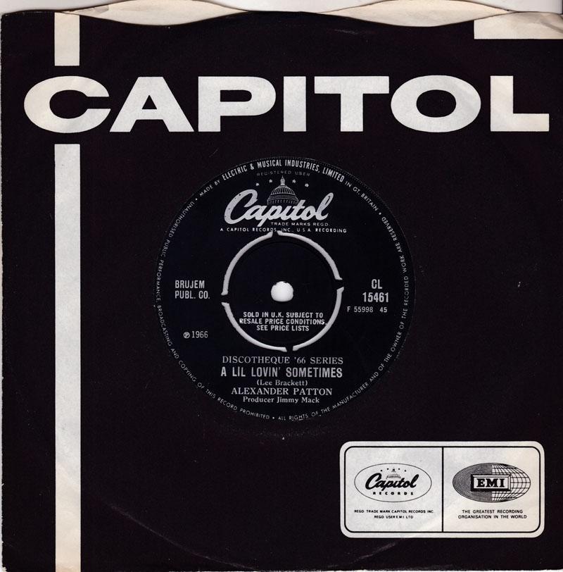 Alexander Patton - A Lil Lovin' Sometimes / No More Dreams - Capitol CL 15461