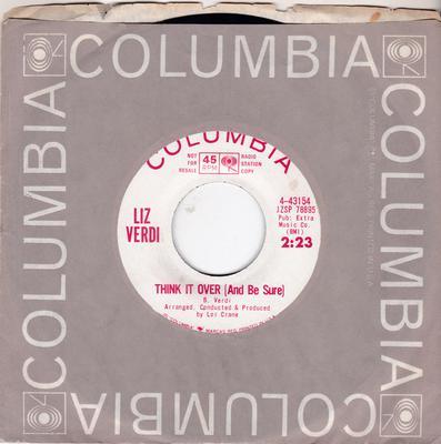 Liz Verdi - Think It Over (And Be Sure) / You Let Him Get Away - Columbia 4-43154 DJ