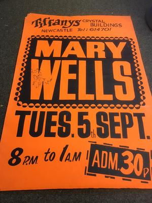 Mary Wells - Live at Tiffanys signed poster / Tuesday September 5th. 1972 - Tiffanys poster