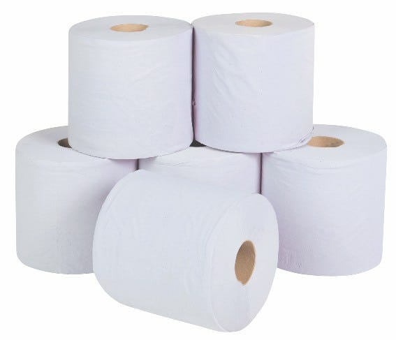 White Single Ply Centre Feed Rolls