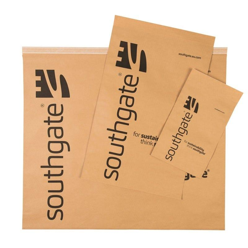 Kraft Paper Mailing Bag DBL Peel, W380 x BG60 x L405 + 55mm lip, 100gsm (70mm Handle), Pack of 50