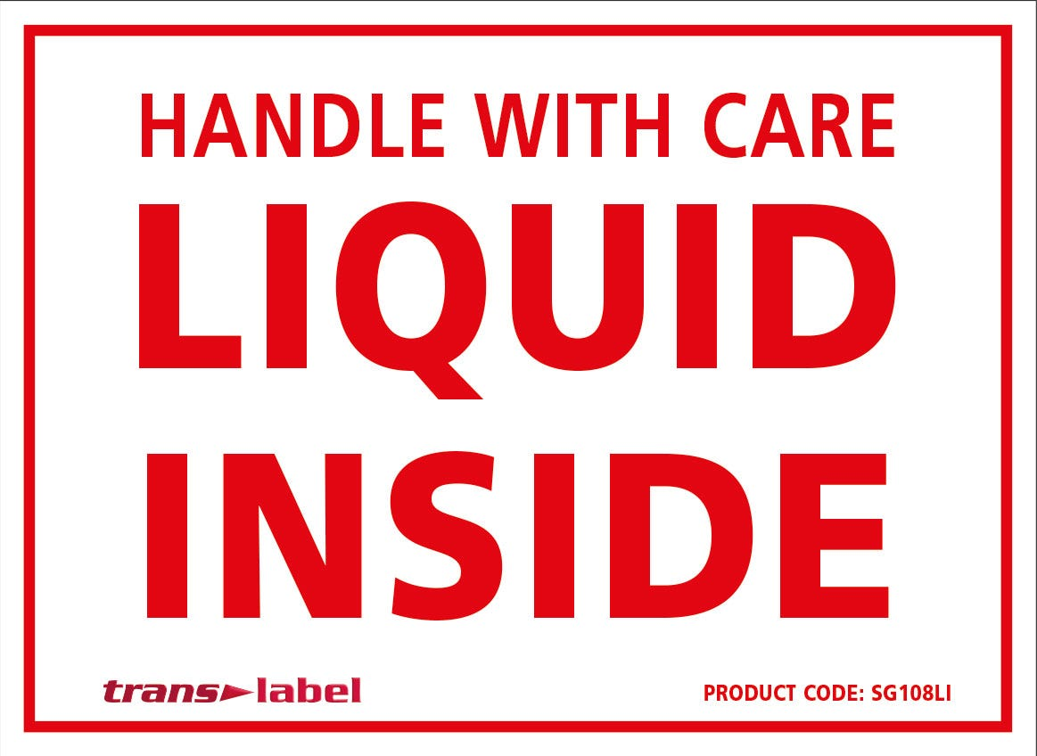 Transpal® HANDLE WITH CARE LIQUID INSIDE Labels