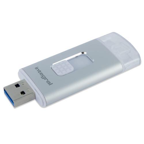 Integral 16GB MoreStor USB 3.0 Lightning Dual Connector Flash Drive - Silver