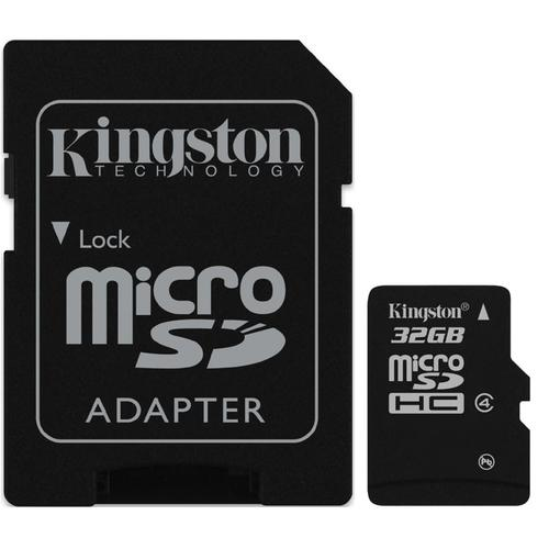 Kingston 32GB Micro SD (SDHC) Card + Adapter - 4MB/s