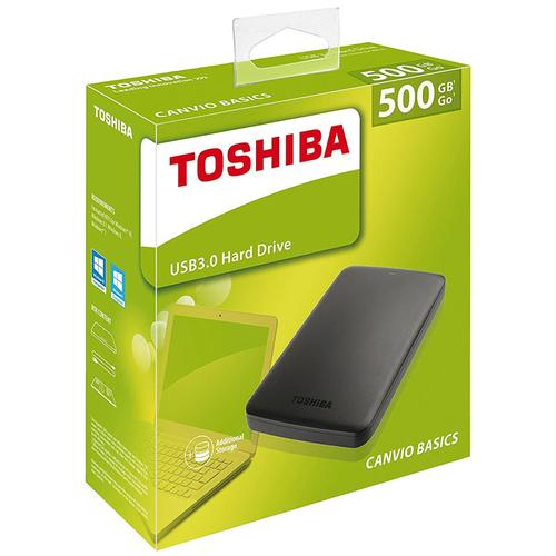 Toshiba 500GB Canvio Basics USB 3.0 2.5 Inch Portable External Hard Drive - Black