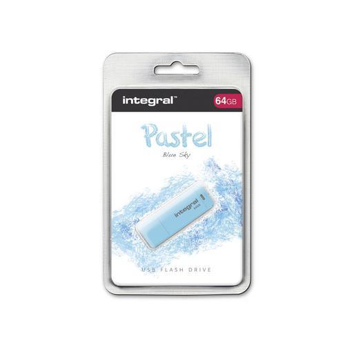 Integral 64GB Pastel USB Flash Drive - Sky Blue