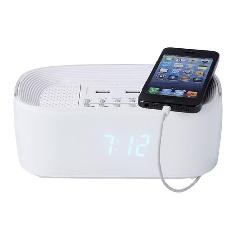 Groov-e Bluetooth Wireless Alarm Clock Radio Speaker System - White
