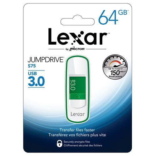 Lexar 64GB JumpDrive S75 USB 3.0 Flash Drive - 150MB/s