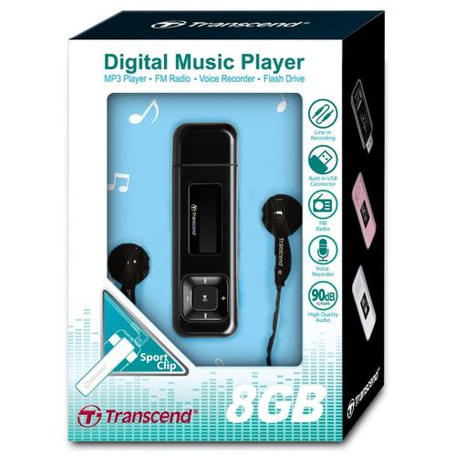 Transcend 8GB MP330 MP3 Player - Black