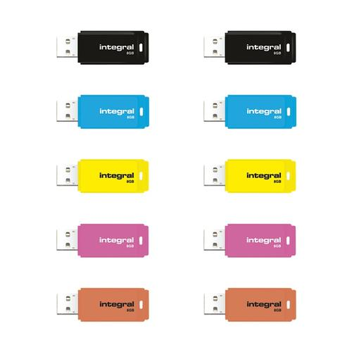 Integral 8GB Neon USB Flash Drives - 10 Pack