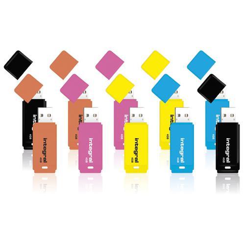 Integral 4GB Neon USB Flash Drives - 10 Pack