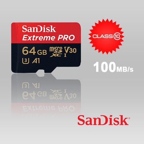 SanDisk 64GB Extreme Pro Micro SD Card (SDXC) UHS-I U3 + Adapter - 100MB/s