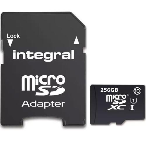 Integral 256GB Micro SD Card (SDXC) UHS-I U1 + Adapter - 90MB/s