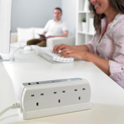 Masterplug 2M 6-Gang Compact Surge Extension Lead + 2 x 3.1A USB Slot - Polished White